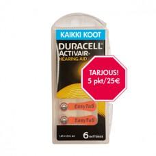 TARJOUS Duracell kuulokojeparistot 5 rasiaa 25,00€